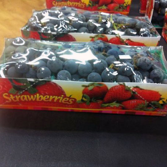 Grapes in Strawberries Box