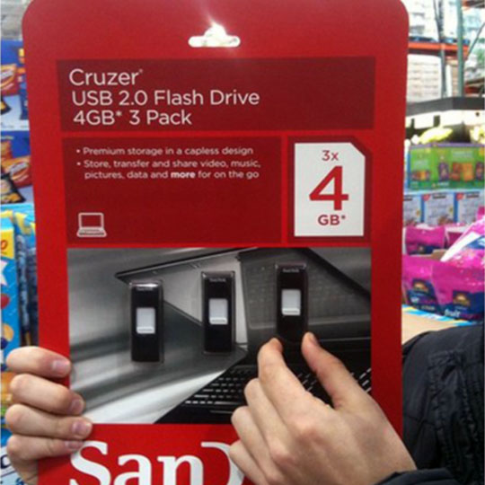 3 USBs in 1 Giant Piece of Cardboard