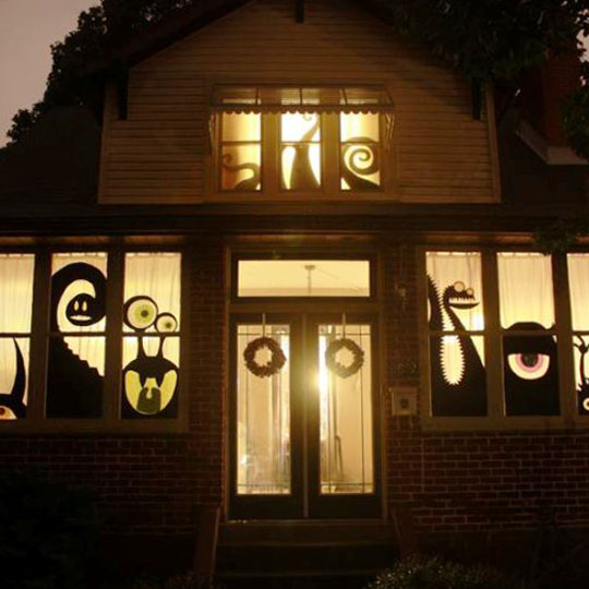 Decorating With Corrugate: Monster Windows