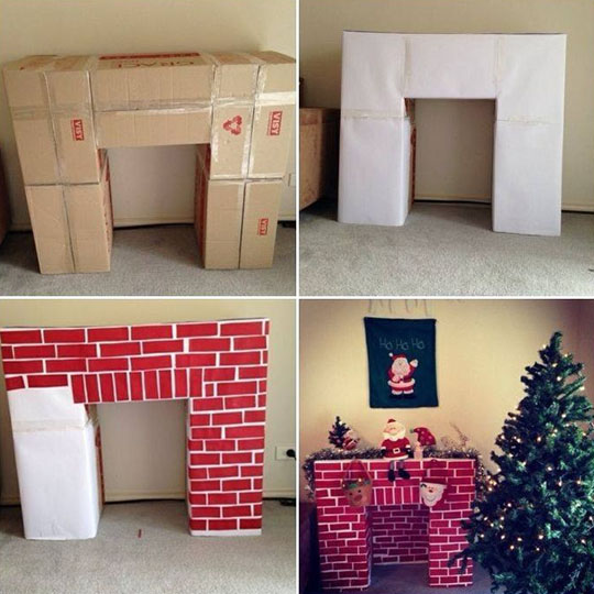 Decorating With Corrugate: Fireplace