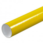 Mailing Tubes with Caps, Round, Yellow, 3 x 12