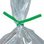 Plastic Twist Ties, Green, Pre-Cut, 9 x 5/32