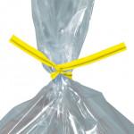 Plastic Twist Ties, Yellow, Pre-Cut, 5 x 5/32