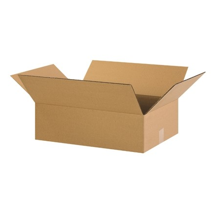 "Corrugated Boxes, 22 x 14 x 6"", Kraft, Flat"