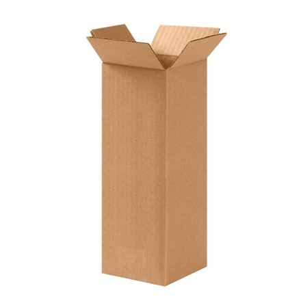 "Corrugated Boxes, 4 x 4 x 10"", Kraft"
