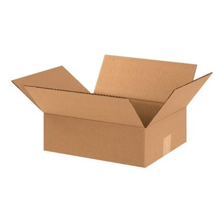 "Corrugated Boxes, 12 x 10 x 4"", Kraft, Flat"
