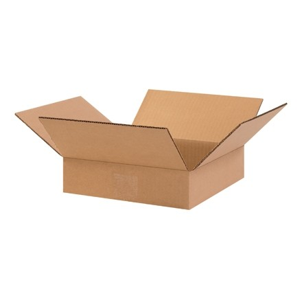 "Corrugated Boxes, 10 x 10 x 2"", Kraft, Flat"