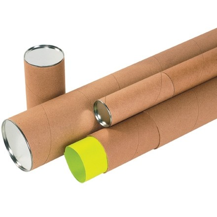 """Mailing Tubes with Caps, Telescoping, Kraft, 2 x 24"""""""