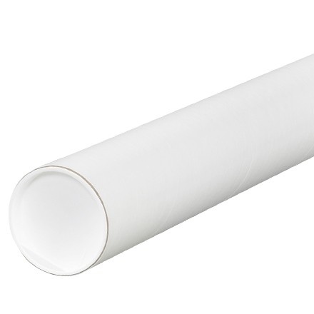"""Mailing Tubes with Caps, Round, White, 3 x 6"""", .060"""" thick"""