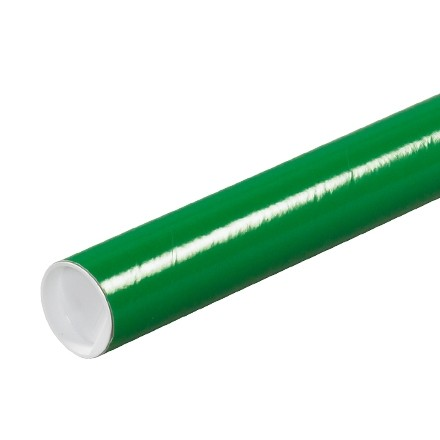 """Mailing Tubes with Caps, Round, Green, 2 x 9"""", .060"""" thick"""