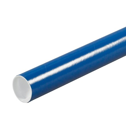 """Mailing Tubes with Caps, Round, Blue, 2 x 9"""", .060"""" thick"""