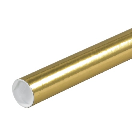 """Mailing Tubes with Caps, Round, Gold, 2 x 6"""", .060"""" thick"""