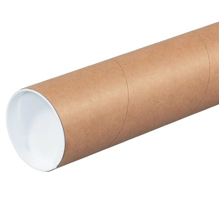 """Mailing Tubes with Caps, Round, Kraft, 3 x 6"""", .060"""" thick"""