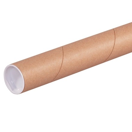 """Mailing Tubes with Caps, Round, Kraft, 1 1/2 x 6"""", .060"""" thick"""