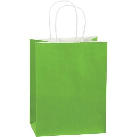 "Citrus Green Tinted Paper Shopping Bags, Cub - 8 x 4 1/2 x 10 1/4"""