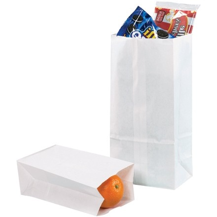 """White Paper Grocery Bags, #8 - 6 1/8 x 4 x 12 3/8"""""""