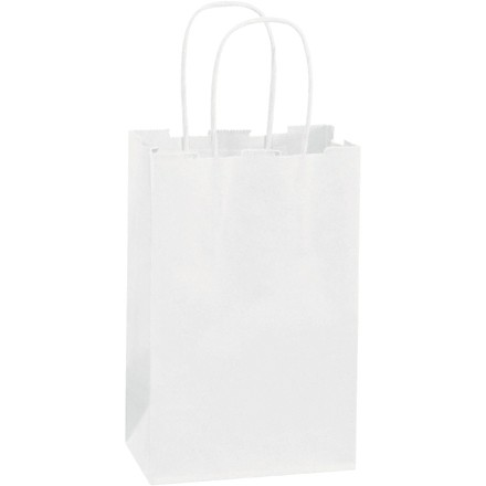 White Paper Shopping Bags, Rose - 5 1/2 x 3 1/4 x 8 3/8""