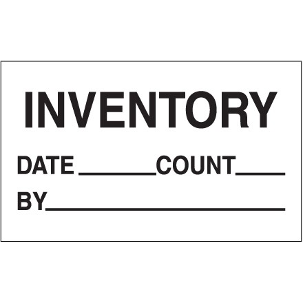 "White ""Inventory - Date - Count - By"" Production Labels, 3 x 5"""