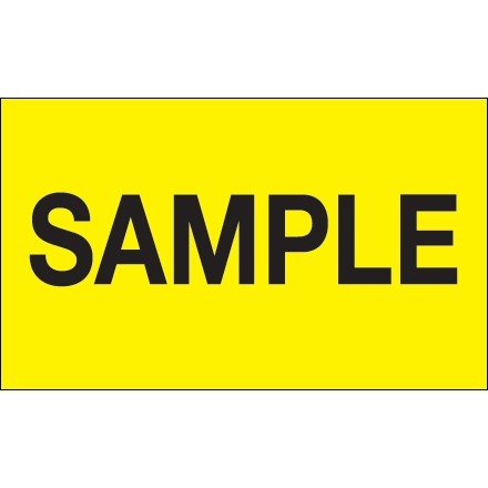 """Sample"" Production Labels, 3 x 5"", Fluorescent Yellow"