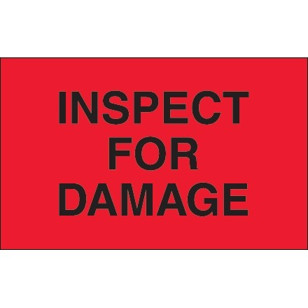 """Fluorescent Red """"Inspect For Damage"""" Production Labels, 1 1/4 x 2"""""""