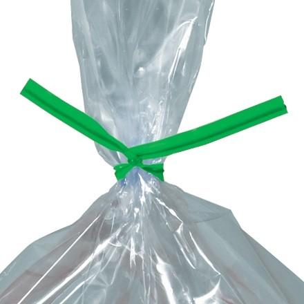 """Plastic Twist Ties, Green, Pre-Cut, 9 x 5/32"""""""