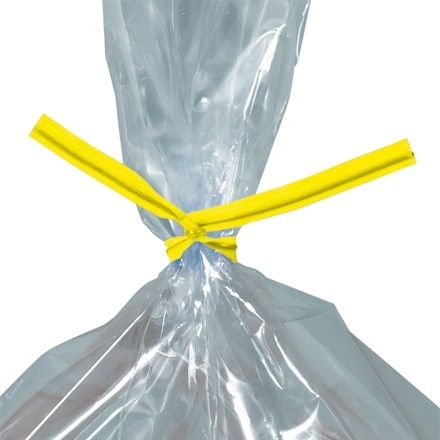 """Plastic Twist Ties, Yellow, Pre-Cut, 6 x 5/32"""""""