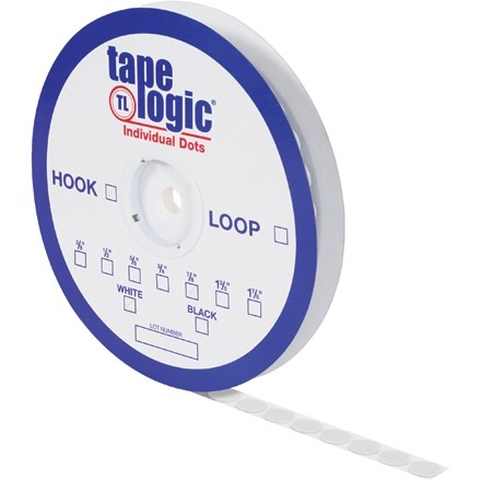 "Hook and Loop, Dots, Hook, 1 3/8"", White"