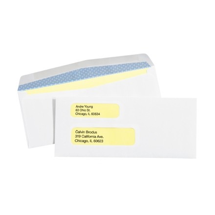 """Business Envelopes with Double Window, #9, Gummed, 3 7/8 x 8 7/8"""""""