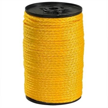 "Hollow Braided Polypropylene Rope - 1/4"", Yellow"