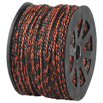 """Twisted Polypropylene Rope - 3/8"""", Black/Orange"""