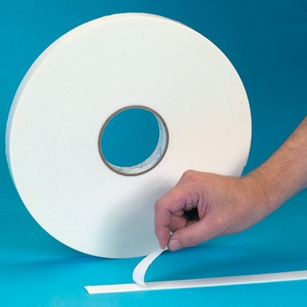 """White Economy Double Sided Foam Tape, 1/32"""" Thick - 1/2"""" x 72 yds."""