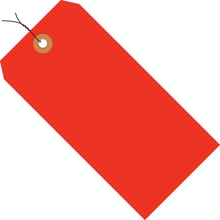 """Fluorescent Red Pre-wired Shipping Tags #1 - 2 3/4 x 1 3/8"""""""