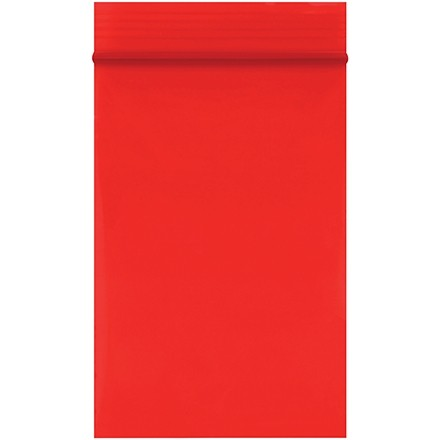 """Reclosable Poly Bags, 2 x 3"""", 2 Mil, Red"""