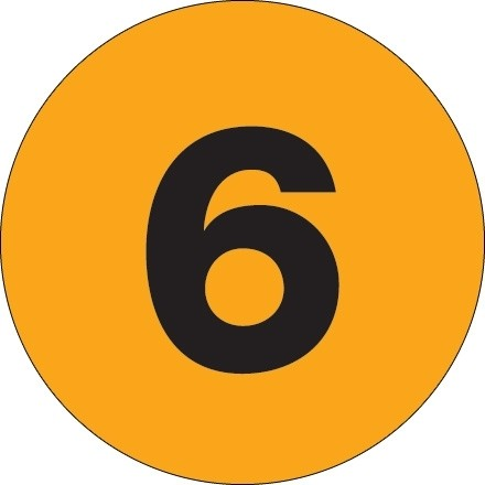 "Fluorescent Orange Circle ""6"" Number Labels - 2"""