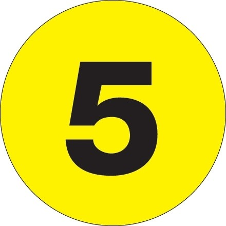 """Fluorescent Yellow Circle """"5"""" Number Labels - 4"""""""