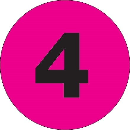 """Fluorescent Pink Circle """"4"""" Number Labels - 2"""""""