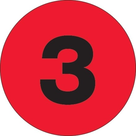 """Fluorescent Red Circle """"3"""" Number Labels - 2"""""""