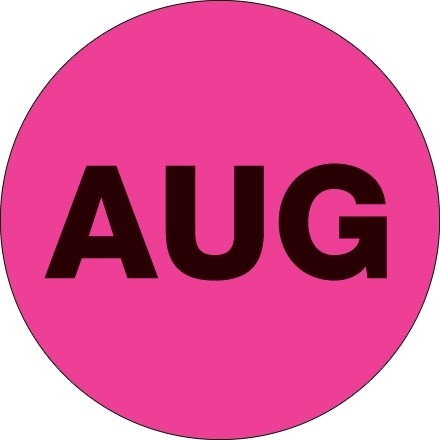 """Fluorescent Pink """"AUG"""" Circle Inventory Labels, 2"""""""