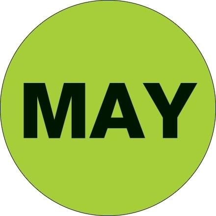 """Green """"MAY"""" Circle Inventory Labels, 2"""""""