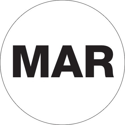 "White ""MAR"" Circle Inventory Labels, 1"""