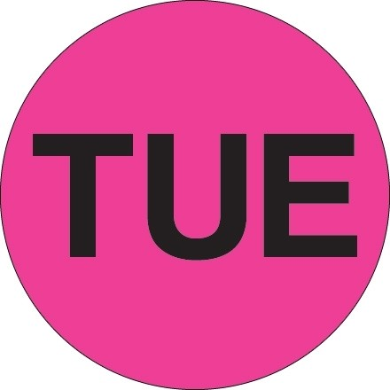 """Fluorescent Pink """"TUE"""" Circle Inventory Labels, 1"""""""