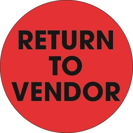 """Fluorescent Red """"Return To Vendor"""" Circle Inventory Labels, 2"""""""
