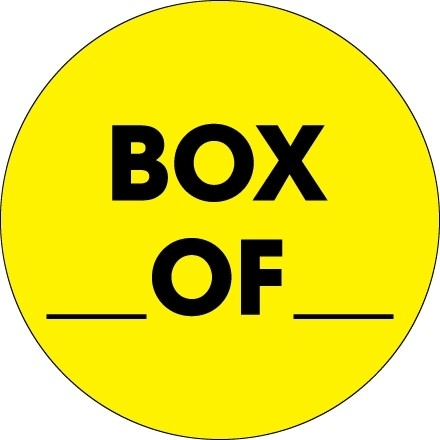 """Fluorescent Yellow """"Box ___ Of ___"""" Circle Inventory Labels, 2"""""""