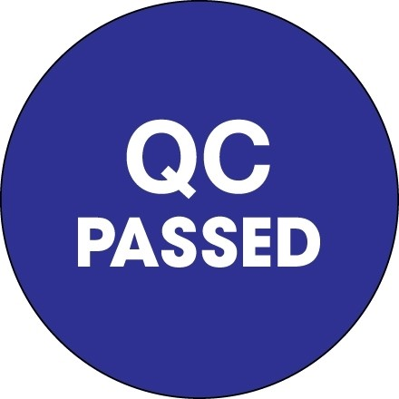 """Blue """"QC Passed"""" Circle Inventory Labels, 2"""""""