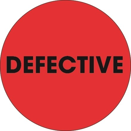 """Fluorescent Red """"Defective"""" Circle Inventory Labels, 2"""""""