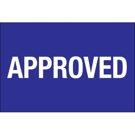 """Blue """"Approved"""" Inventory Labels, 2 x 3"""""""