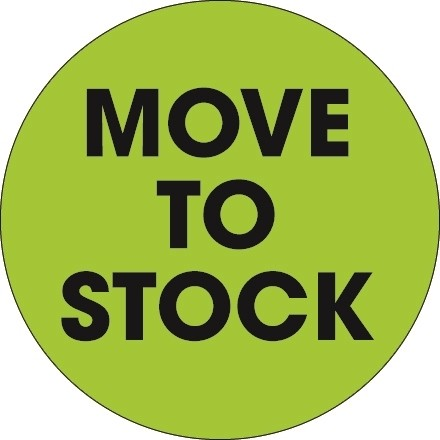 """Fluorescent Green """"Move To Stock"""" Circle Inventory Labels, 2"""""""