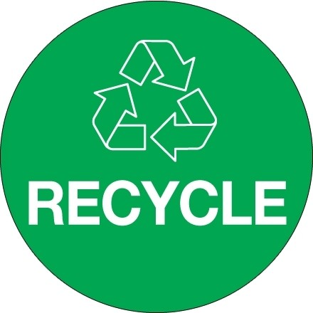 """Green """"Recycle"""" Circle Labels, 3"""""""