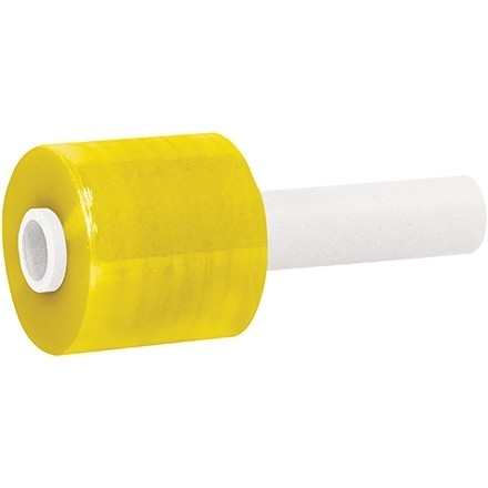 """Yellow Extended Core Bundling Hand Stretch Film, 80 Gauge, 3"""" x 1000"""