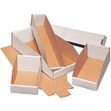 """White Corrugated Bin Boxes, 4 x 12 x 4 1/2"""""""